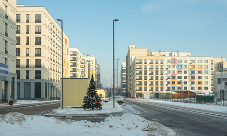 Low-rise residential area in winter. Moscow, Russia