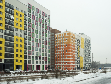 New modern residential complex in the winter Фото со стока
