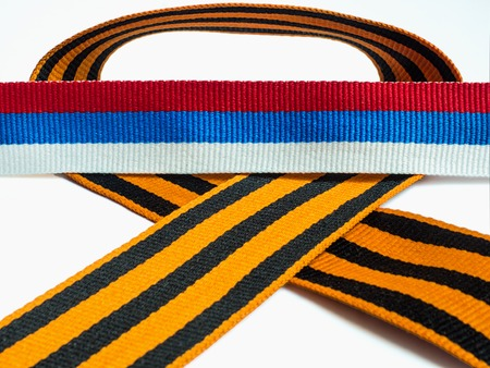 Ribbon blue white red and St. George ribbon on white background