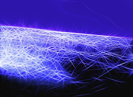 Abstract blue outer space background created from short and long thin lines Stock Photo