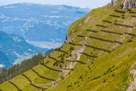 Avalanche barrier in a mountain meadow. Alpine landscape from the top of Mannlichen Jungfrau region, Bern, Switzerland. Stock Photo