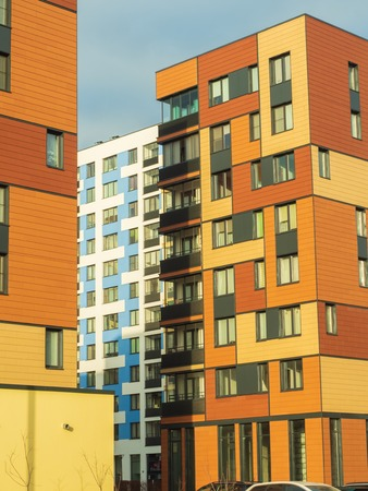 Modern residential complex with colorful design of building facades and developed infrastructure. Moscow Russia