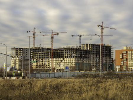 Construction of a modern residential building. Moscow Russia