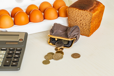 Wallet, calculator, groceries. the concept of calculating daily expenses
