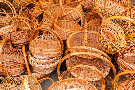 A variety of wicker baskets on the market are waiting for their buyer. Tula Russia