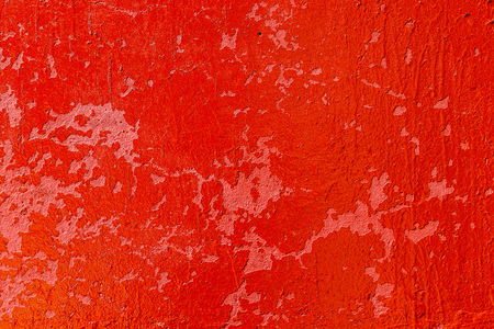 Old plastered wall painted with fresh red paint. Abstract background of red walls, close up Banco de Imagens - 124686728