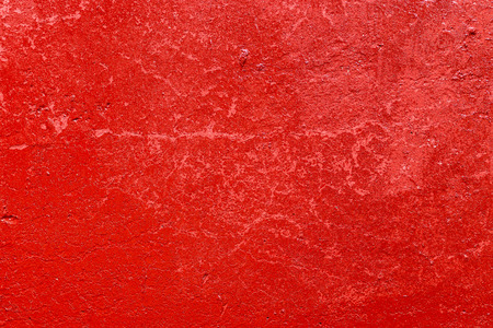 Old plastered wall painted with fresh red paint. Abstract background of red walls, close up Banco de Imagens - 124686726