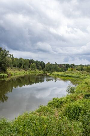 summer landscape on the river Bank, cloudy day, Kaluga region, Russia