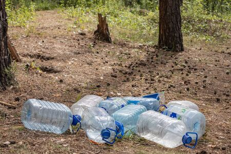 Empty plastic bottles and other rubbish are scattered in the forest. Problems of ecology in forests in Russia. Kaluga region Russia