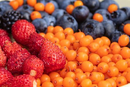 Mixed various berries collected on the plot, assorted berries of blackberries, strawberries, blueberries, sea buckthorn. Colorful and healthy concept. Black, blue, red, green. close up 版權商用圖片