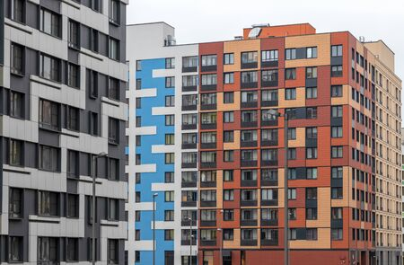 bright facade of a modern apartment building, apartment complex. Moscow, Russia