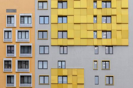 bright facade of a modern apartment building, apartment complex, Moscow, Russia Фото со стока