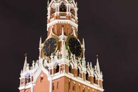Spasskaya tower of the Moscow Kremlin, night snapshot