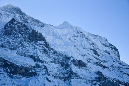 View of the Jungfraujoch mountain peak in winter, Swiss Alps