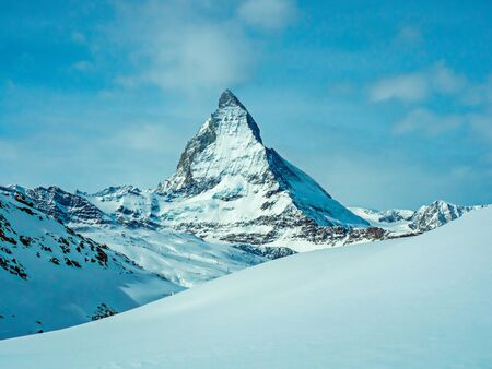 The famous beautiful Matterhorn mountain 4478 m. View from the Gornergrat mountain Zermatt, Switzerland. great design for any purpose. Snowy winter beautiful landscape, Light background.