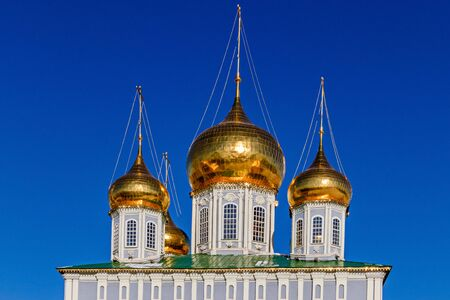 Domes Of the Cathedral of the assumption of the blessed virgin Mary in the Tula Kremlin, Russia. Russian landmark, close up