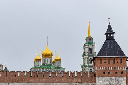 Cathedral of the assumption of the blessed virgin Mary in the Tula Kremlin, Na pogrebu tower, XVI c. Russian landmark, the view from the waterfront Kazan Banco de Imagens