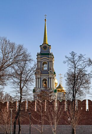Cathedral of the assumption of the blessed virgin Mary behind the wall of the Tula Kremlin, Russia. Russian landmark, winter landscape