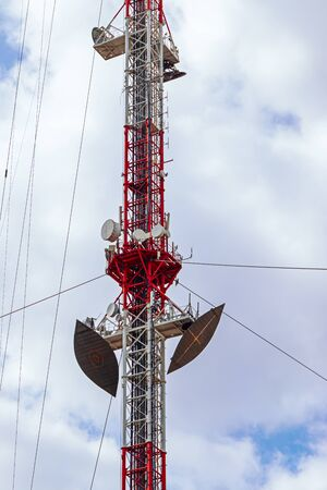 A broadcasting tower for transmitting radio and television with a large number of installed antennas. Tula Russia