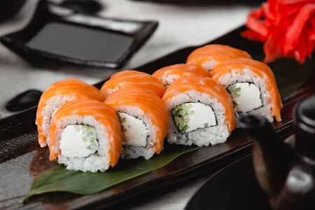 Salmon sushi with rice Stock Photo