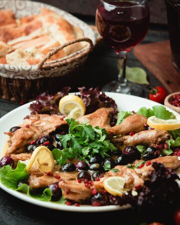 Chicken in sauce with olives Banco de Imagens
