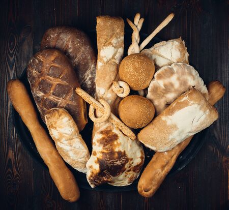 Fresh bread compilation top view 版權商用圖片