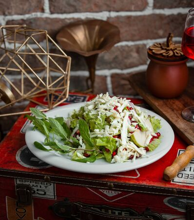 Salad of greens, pomegranate, cheese and apples Stok Fotoğraf - 130605358