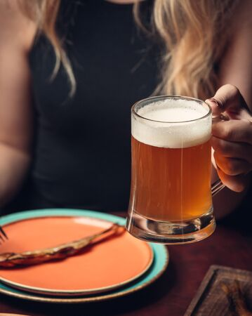 Cold filtered beer with foam