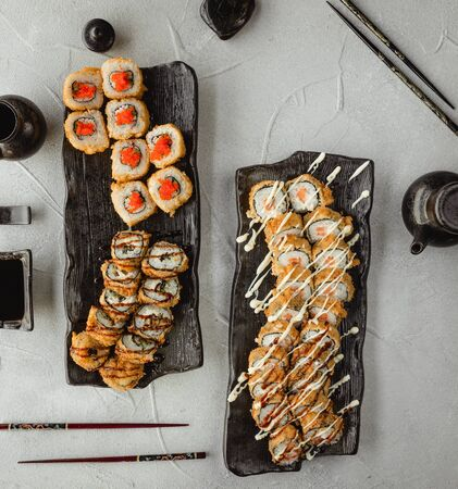 Set of various sushi top view 1 Stock Photo