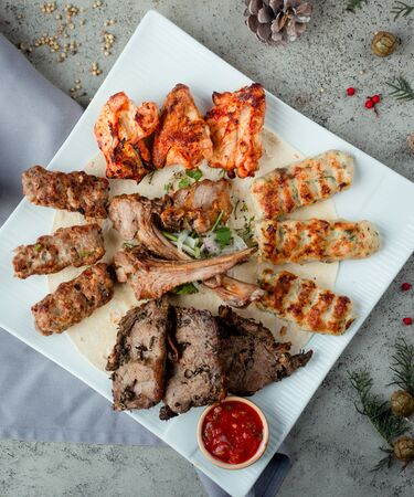Assortment of kebab with lula tikka chicekn beef with herbs