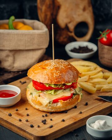 Burger with tomato, lettuce, melted chees and french fries, ketcup, close up