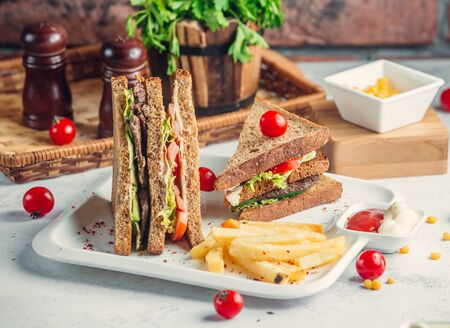 Club sandwich with beaf cheese and vegetables Stockfoto