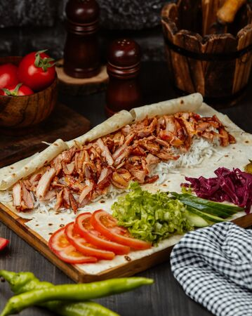 Chicken doner wrap with vegetables