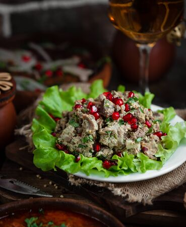 Mixed salad topped with pomegranate Stok Fotoğraf