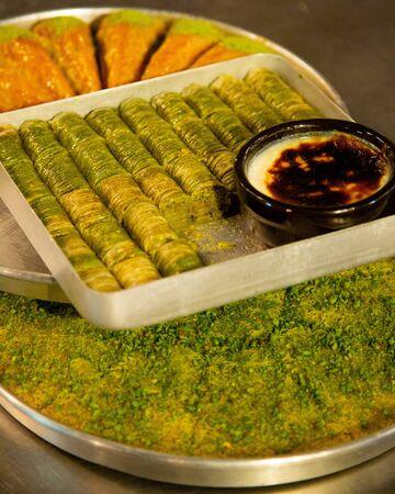 Various turkish desserts with pistachio