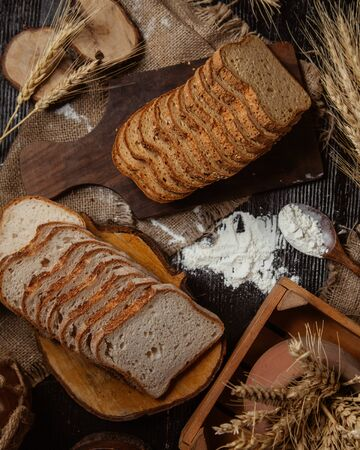 Sliced bread selection with sesame and without