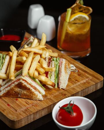 Club sandwich with french fries 1