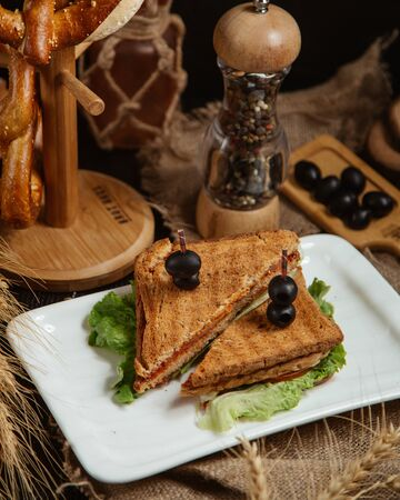 Sandwich topped with olives Stockfoto
