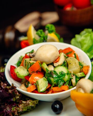 Mixed vegetable salad with herbs
