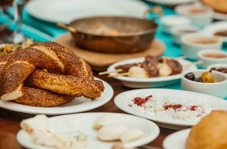 close up of simit pieces circular breads with sesame for turkish breakfast