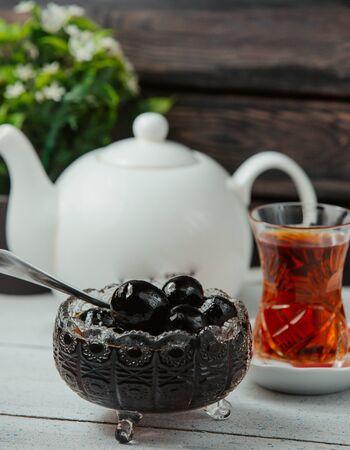 azerbaijani walnut jam in crystal bowl served with black tea