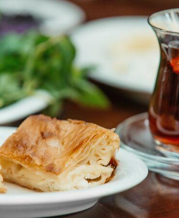 close up of turkish cheese water bourak