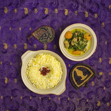 top view of pilaf rice served with herb meat with dried fruits Stock fotó
