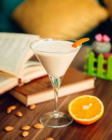 pina colada cocktail with orange slice Stockfoto