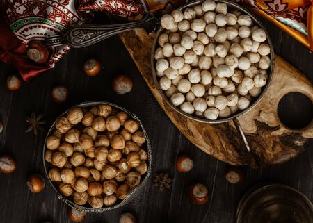 simple and fried hazelnuts on the table top view Stok Fotoğraf