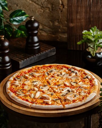 chicken pizza with mushroom, cheese and tomato sauce Stok Fotoğraf
