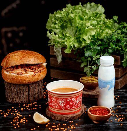 chicken doner, lentil soup and ayran in bottle Stok Fotoğraf