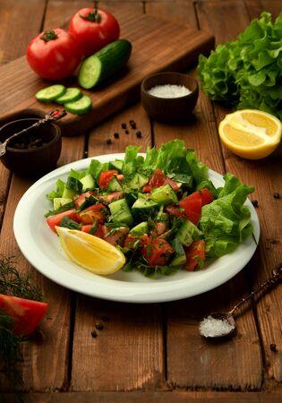 choban shepherd salad with tomato, cucumber, herbs and lemon Stok Fotoğraf
