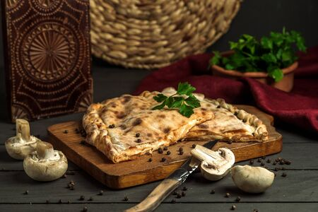 cheese stuffed bread garnished with parsley Stok Fotoğraf