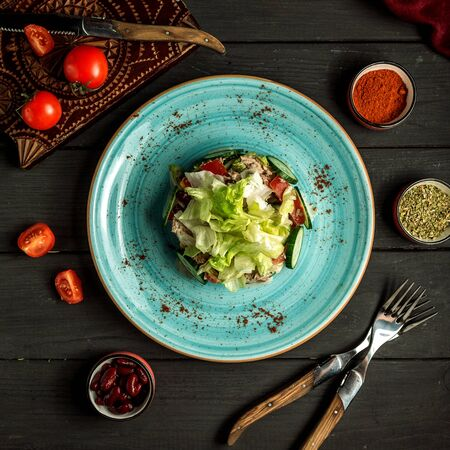tuna salad on the table top view